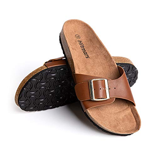 Sandalias Mujer Planas Zapatillas Verano Chanclas con Hebilla Mules Zapatos Soporte del Arco Comodas Marrón Talla38 EU