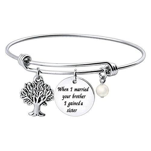WUSUANED Sister in Law Gift When I Married Your Brother I Gained a Sister Bracelet for Sister of The Groom (Sister of The Groom Bracelet)
