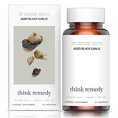 Aged Black Garlic Capsules - Garlic Pills for Cholesterol Support - Less Odor - Potent Antioxidant - 60 Capsules - Allium Sativum Supplement - More Effective Than Allicin