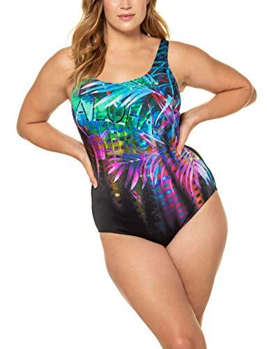 Ulla Popken Damen Aloha, große Größen Badeanzug, Mehrfarbig (Multicolor 72764890), 54