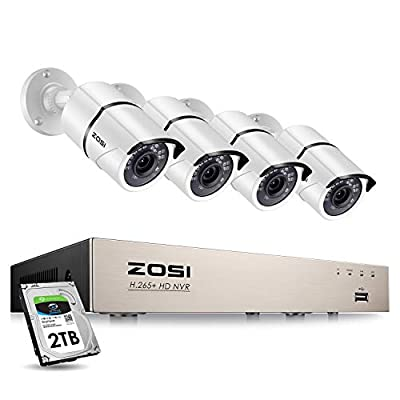 ZOSI 8CH 5MP PoE Video Surveillance System with 2TB Hard Drive,H.265+ 8Channel 5MP NVR Security System and 4pcs 5MP HD Outdoor Indoor 100ft Night Vision PoE IP Cameras for 24/7 Recording