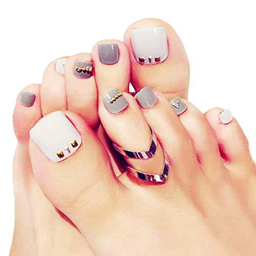 Fairvir - Juego de 24 uñas postizas de acrílico para dedo del pie, color gris
