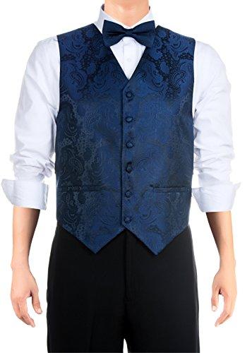 Retreez Juego de 3 piezas de regalo con estampado de cachemira, con corbata, pajarita, Azul marino, Small