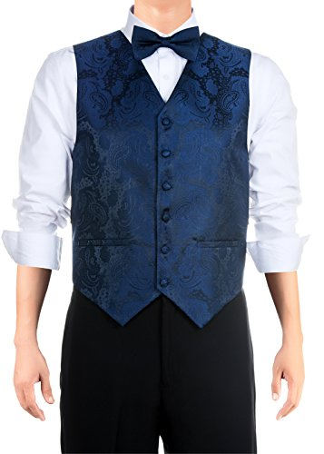 Retreez - Chaleco con textura de cachemira para hombre con corbata, pajarita, 3 piezas de regalo, Azul marino, Medium