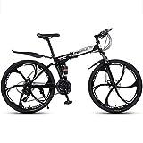 Bicicleta Montaña MTB Plegable bicicleta de montaña, de acero al carbono cuadro de la bicicleta, con doble doble del disco de freno Suspensión Bicicleta de Montaña ( Color : Black , Size : 24 Speed )