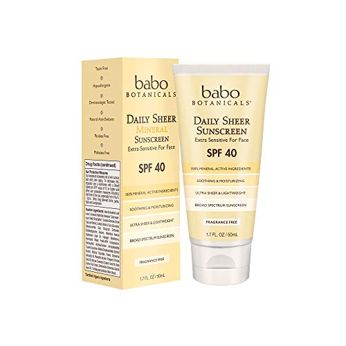 Babo Botanicals Daily Sheer Sunscreen SPF40 - Fragrance Free - For Face & Extra Sensitive Skin 50ml