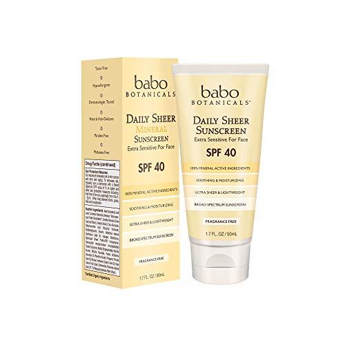 Babo Botanicals SPF 40 Daily Sheer Facial Sunscreen, Unscented, 1.7oz, Best...