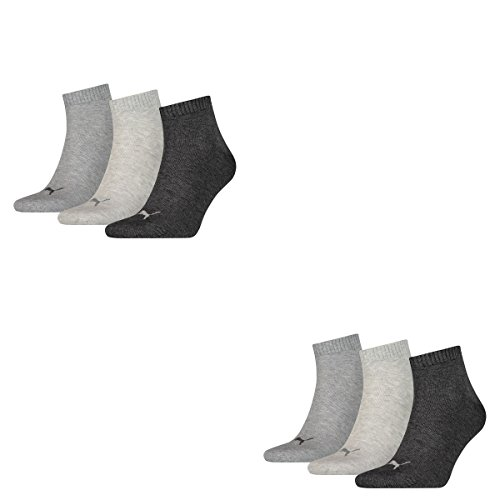 6 Paar Puma Unisex Quarter Socken Sneaker Gr. 35 - 49 für Damen Herren Füßlinge, Farbe:800 - anthraci/l mel grey/m me, Socken und Strümpfe:43-46