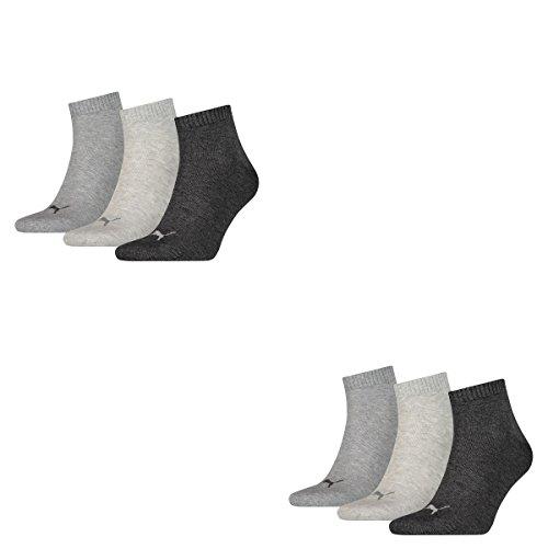 6 Paar Puma Unisex Quarter Socken Sneaker Gr. 35 - 49 für Damen Herren Füßlinge, Farbe:800 - anthraci/l mel grey/m me, Socken & Strümpfe:43-46