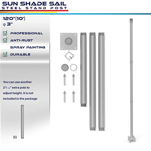 Windscreen4less Sun Shade Sail Pole Kit, Stand Post – 10' Feet Tall (120'') Strong Replacement Poles, Awning Canopy Support Pole Versatile for Concrete Lawn Patio Deck Backyard Mounting