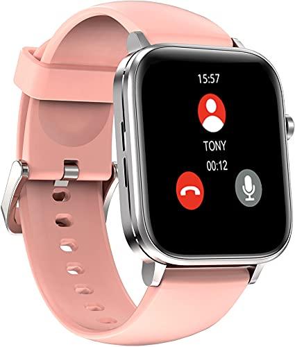 Reloj inteligente para la salud, llamadas con pulsómetro, monitor de sueño, podómetro, control de música, rastreador de fitness, IOS Andriod, Rosa.,