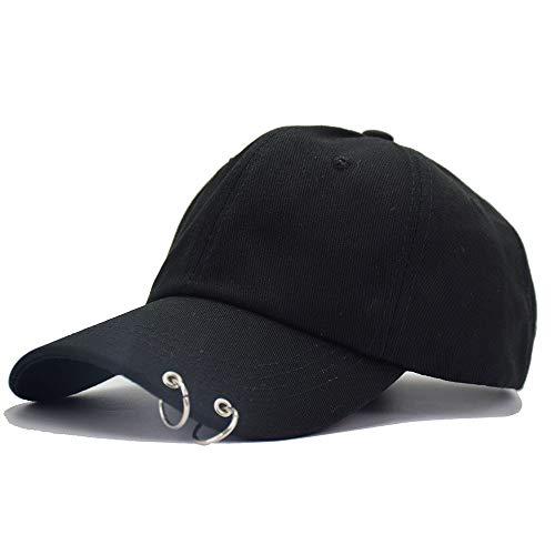 Kokkn BTS Baseball Cap Wings Kpop Bangtan Boys Outdoor Iron Ring Hat Casual Adjustable Dad Hat Hip Hop Hat (Black Ring)