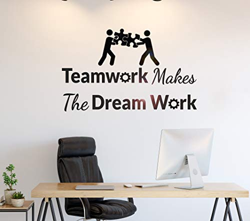 Wall Stickers Decal for Living Room Phrase Teamwork Makes Dream Work Office Stickers Mural Peel and Stick Decorative Self Adhesive Christmas Decoration for Home Nursery 39.4 Inch