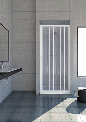 Puerta plegable para ducha, plástico PVC, 1 lateral, apertura de 80cm