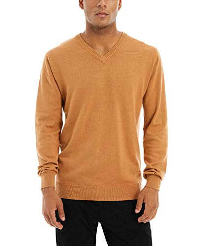 MAGCOMSEN Mens Sweaters V-Neck Sweatshirts Winter Clothes Men Basic Fleece Sweaters for Men Knitted Pollover Sweatshirts Thin Sweaters Men Khaki