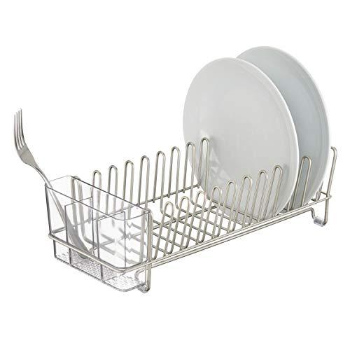 mDesign Abtropfgestell für die Küchenspüle – Abtropfgitter mit Besteckhalter zum Trocknen von Gläsern, Besteck, und Tellern, – platzsparende Geschirrablage aus Metall und Kunststoff – silber