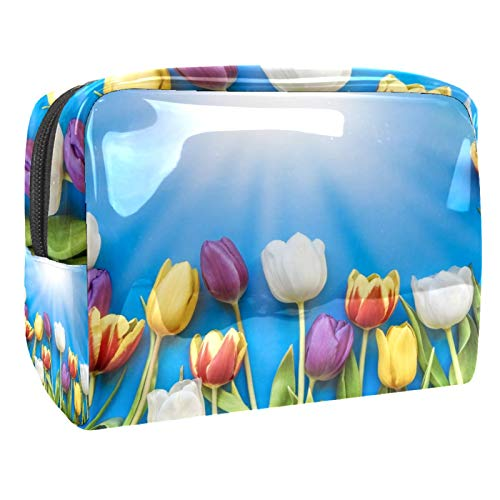 Portable Makeup Bag with Zipper Travel Toiletry Bag for Women Handy Storage Cosmetic Pouch Colorful Tulip Flower Plant