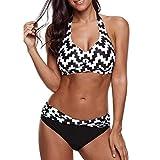 Hanyixue Bikinis Mujer 2020 Push up Sexy de Lunares de Playa Conjunto de Traje de Baño Estampado Bohemio BañAdores con Relleno Sujetador Tops y Braguitas Ropa de Playa vikinis