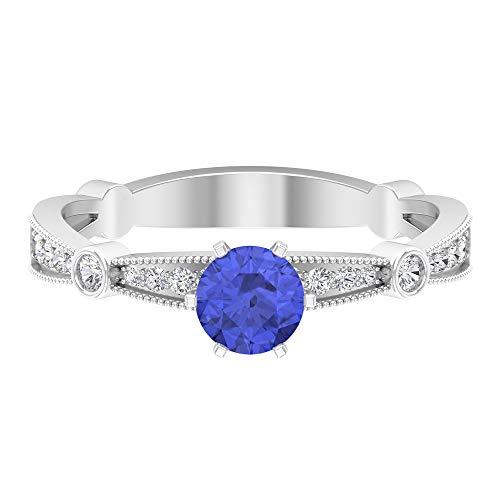 Anillo de topacio azul Londres de 5 mm, anillo de diamante HI-SI de 1/4 quilates, anillo de compromiso cónico, anillo de novia de oro, 14K White Gold, London Blue Topaz, Size:US 57