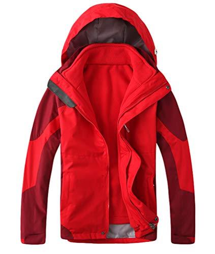 WanYangg 3 In 1 Jacke Damen Funktionsjacke Outdoor Doppeljacke Wind Und Wasserdicht Atmungsaktiv Wanderjacke Softshelljacke Funktions Outdoormantel Winterjacke Warme Trekkingjacke Rot-W XL