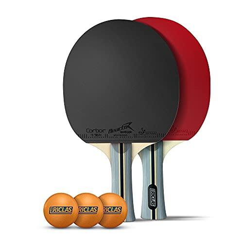 RICLAS | Tischtennisschläger Set − 2 Tischtennis Schläger und 3 Tischtennisbälle − Für Anfänger & Profis − Mit Tasche für Transport
