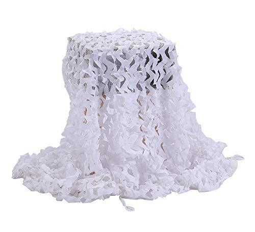 Filet de D'ombre,Camouflage Net Maille de Soleil Camo Auvents Tente Tissu Oxford,Convient pour Plage Pêche Couverture de Voiture Plante Couverture Protection Camping Cacher Chasse Tournage,Blanc