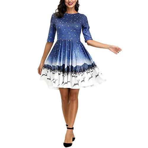 litty089 Herfst voor Vrouwen Ornament, Mode Prachtige Boom Ster Hemel Patroon Print O Nek Halve Mouwen, T-Shirt Stijl Midi Jurk, Decor voor Kerst Party Kostuum