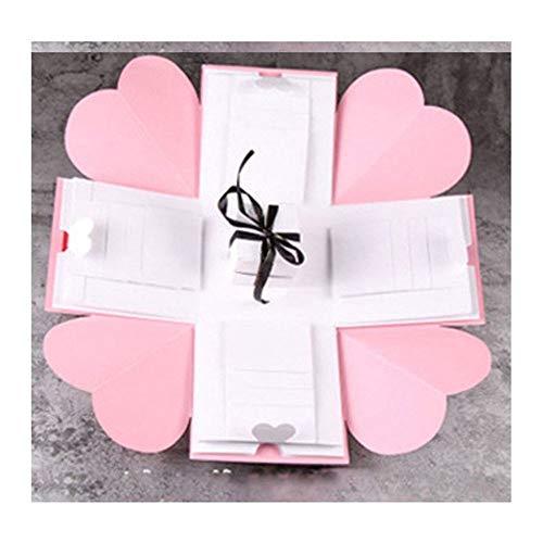 Explosion Box, Caja Sorpresa de Regalo, Álbum de Fotos de Scrapbooking Caja de Regalo para Cumpleaño, para cumpleaños Aniversario Boda San Valentín Día de la Madre Navidad (Negro),C