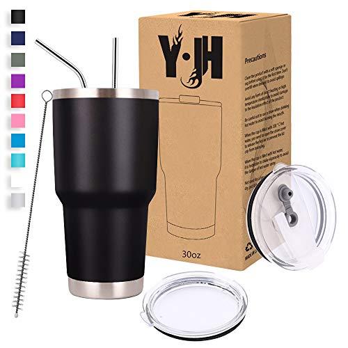 Y·JH 30oz (850ml) Bicchiere da Viaggio Tazza da caffè a Doppia Parete isolata sottovuoto Tazza da caffè in Acciaio Inossidabile con 2 coperchi antispruzzo, 2 cannucce, Senza BPA - Nero