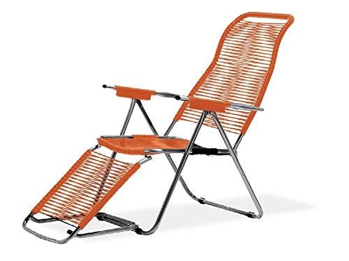 fiam Spaghetti Liegestuhl Art. 084 OR Aluminium verchromtem Rahmen Sitz und Rücken Orange Farbe