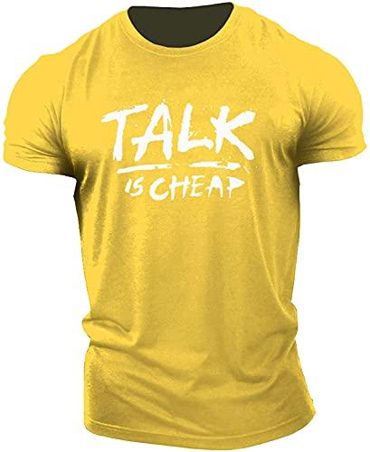 Streetwear Hombres Regular Fit Cuello Redondo Letra Tendencia Impresión Hombre T-Shirt Verano Básico Estilo Hip Hop Hombre Shirt Deporte Personalidad Moderna Hombre Shirt Ocio E-Yellow XXL