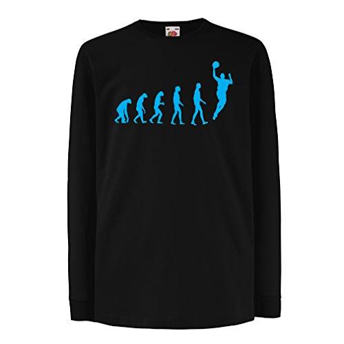 Camisetas de Manga Larga para Niño evolución de Baloncesto - Canasta de la Calle, me Encanta Este Juego, Gran Fan de Regalo (12-13 Years Negro Azul)