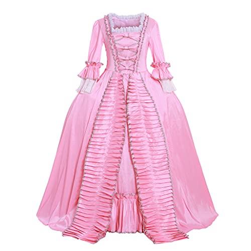 Fortunehouse Rosa Rococó barroco Marie Antonieta vestido de bola vestido de noche del siglo 18 traje renacentista