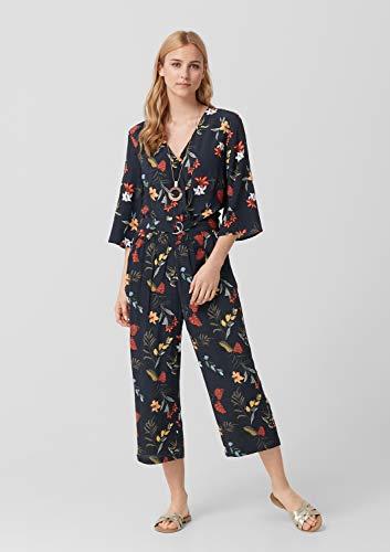 s.Oliver RED Label Damen Crêpe-Jumpsuit mit floralem Print Navy AOP 36 - 4