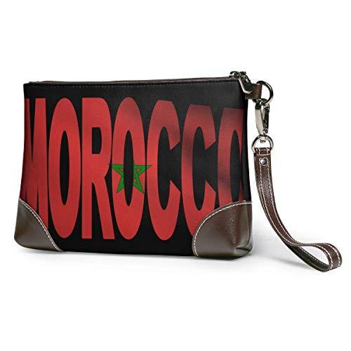 Ahdyr bolso de mano de cuero para mujer Bandera de Marruecos Cartera de cuero Carteras Carteras de mano Carteras para teléfono Estuche de maquillaje Neceser de baño Estuche de cosméticos para viajes