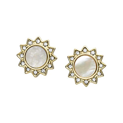 Fossil You Are My Sunshine Mother-of-Pearl Stainless Steel Stud Earrings, Gold/MOP Sunshine, Standard (JF03423710)