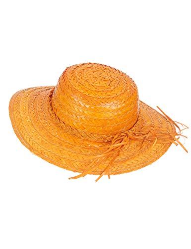 DEGUISE TOI - Chapeau de Paille Vintage Orange Femme - Taille Unique