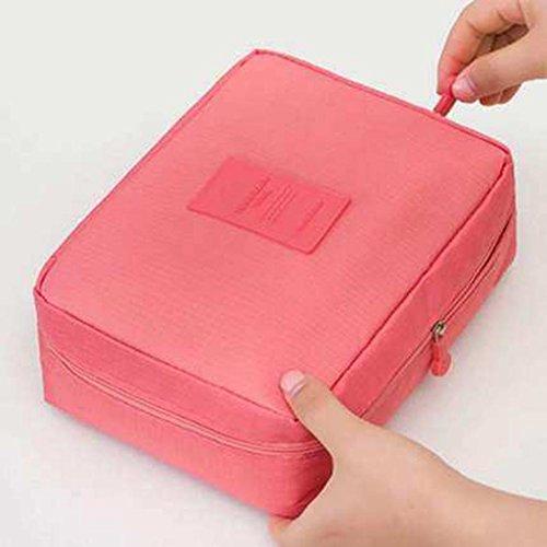 Benfa Make-up Tasche Portable Kosmetiktasche große Kapazität Aufbewahrungstasche Kosmetiktasche Koreanisch Einfache Trompete wasserdicht Reisetasche Waschen, Watermelon Red