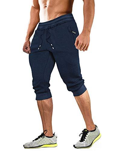 MAGCOMSEN Pantalones de verano capri para hombre, de algodón, para entrenamiento, 3/4,...