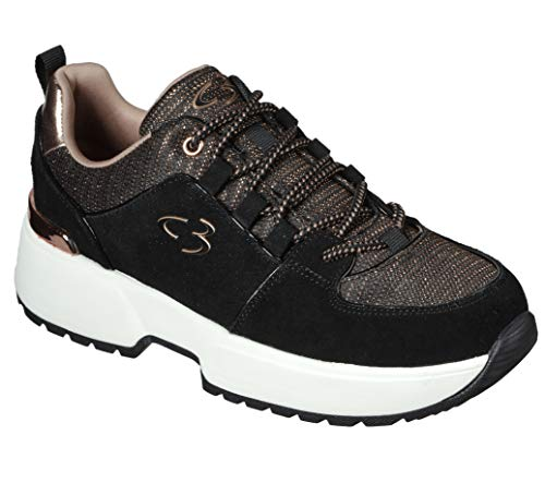 Concept 3 by Skechers Women's To Top it Off Lace-up Fashion Sneaker, Black/Rose Gold, 8 Medium US