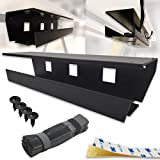 No Drill Under Desk Cable Management Tray (Pack of 2), Black, Tape or Screws mounting Option, Wide and Sturdy Organizer Rack for Cords/Wires/Power Strip/Power Bricks