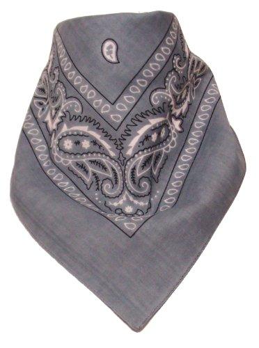 Alex Flittner Designs Original Bandana Kopftuch Halstuch Nickituch Biker Tuch mit Paisley Muster in Grau 100% Baumwolle