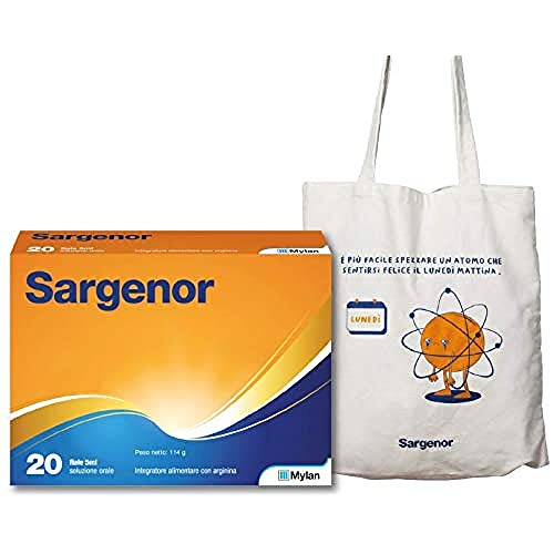 Sargenor Integratore Alimentare con Arginina in Omaggio Shopper Multiusi Limited Edition, 20 Fiale - 290 g