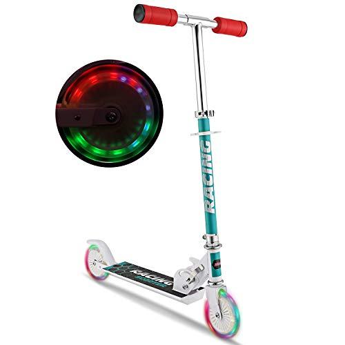 WeSkate - Patinete plegable para niños de 3 a 10 años, equipado con un manillar ajustable y ruedas LED