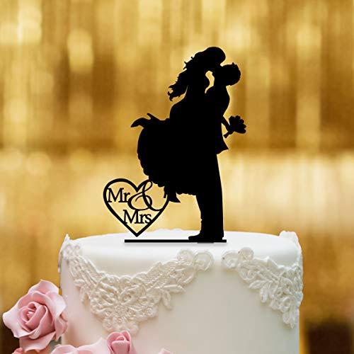 Dankeskarte.com Cake Topper Sprung - für die Hochzeitstorte - Acrylglas Schwarz - XL - Tortenaufsatz, Kuchen, Deko, Tortenstecker, Tortenfigur, Hochzeit, Kuchanaufsatz, Kuchendeko, Mr Mrs