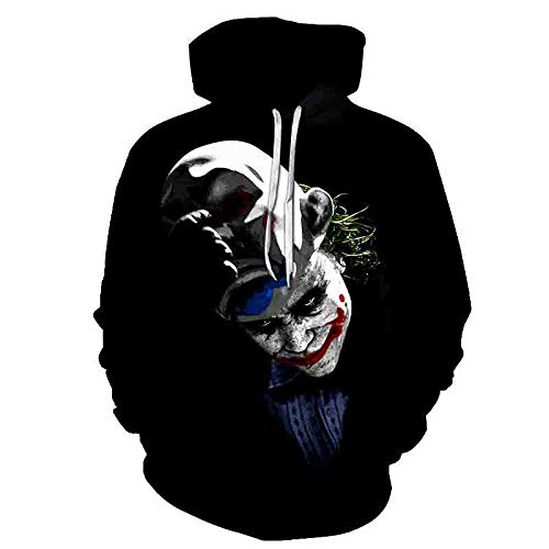 LONGFOFHUI Película De Terror It Chapter Two Sudaderas con Capucha con Estampado 3D Hombres Mujeres Moda Casual Funny Pullover It Clown Print Pattern Hoodies-Yw-1909_XXXL