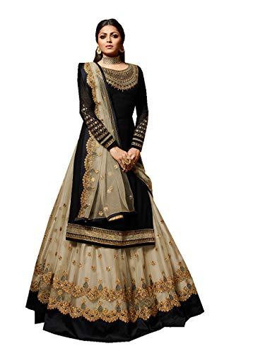Delisa New Indian/Pakistani Eid Special Party/Ethnic wear Georgette Straight Ghagra Style Salwar for Womens LTT (Black, XXL-46)