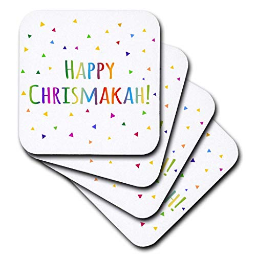 3dRose CST_202086_1 Happy Chrismukkah Joint Christmas and Hanukkah Holiday Blessing Soft Coasters (Set of 4)