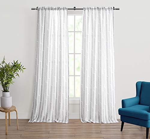 """Refinery29 Miley Collection Modern Chic Stylish Panel Pair Set, Curtains, Decorative Window Treatment with Printed Clipped Herringbone Design, 76"""" x 84"""", White/Grey"""