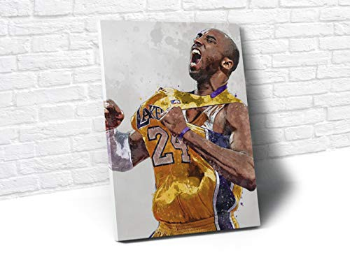 Kobe Bryant Celebration Los Angeles Lakers Poster/Canvas Print - Basketball Artwork - Kids Room Wall Decor - Man Cave - Sports Decor - Birthday Gift Idea (Mounted Canvas, 16 x 24 Inches) image